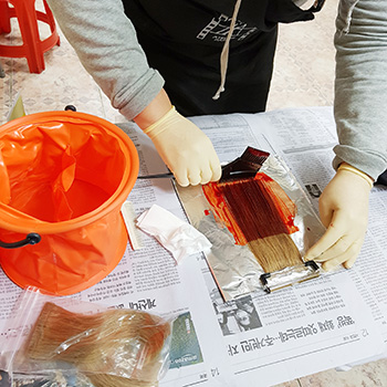 헤어국가자격증반 염색수업